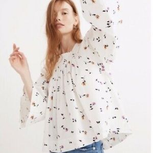 Floral square neck madewell blouse | XL